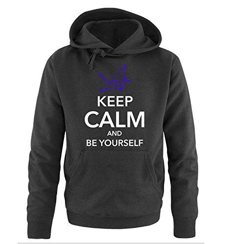Comedy Shirts - KEEP CALM AND BE YOURSELF - Uomo Hoodie cappuccio sweater - taglia S-XXL different colors nero / bianco-azzurro