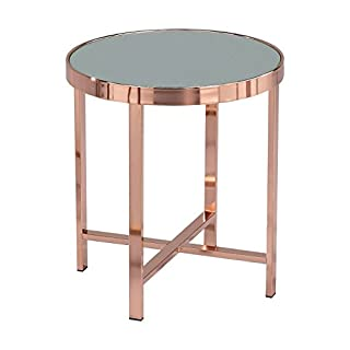 ASPECT Vasari Mirrored/Glass Round Side/Coffee/End/Lamp Table, Metal, Copper