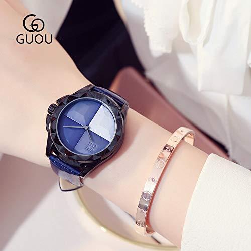 SUIYOUYU Frauenuhren Uhr für Frauen Gun-Shell Gurtfrau Uhren Mode Wilde Gradient Kuchenplatte Stahl Quarzuhr (Color : 3)