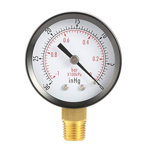 HibiscusElla Dry Utility Vacuum Pressure Gauge Blk Steel 1/4
