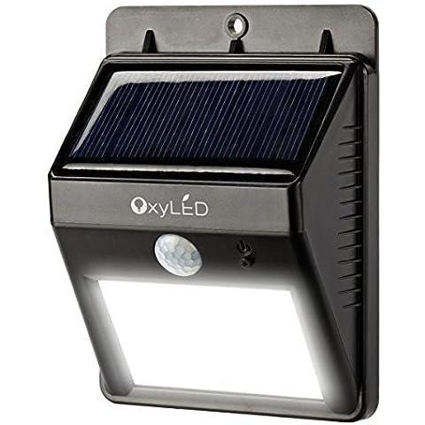OxyLED® SL30 LED Brillante Solar - Impermeable- Detector del Sensor de Movimiento para Patio, Plataforma, Patio, Jardín, Casa, Camino de Entrada, Escalera, Pared / Iluminación de Seguridad / Anochecer y Amanecer Oscuro Auto On / Off