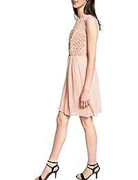 ESPRIT Collection Damen A-Linie Kleid aus Chiffon, Knielang, Einfarbig