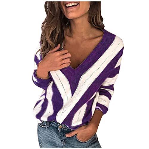 Sweatshirt Damen Mode Pullover Lässig Langarm Spleißen V-Neck Sweater(Violett,2XL) -