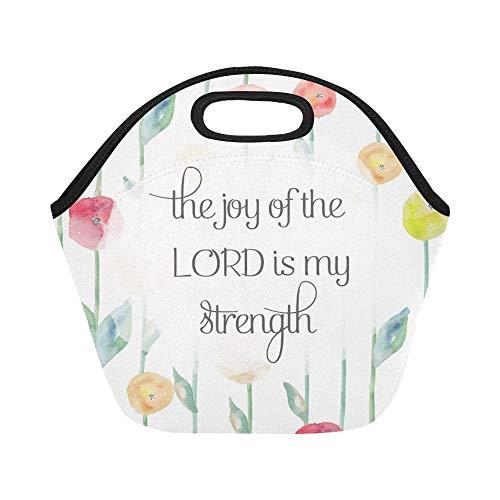 Isolierte Neopren-Lunch-Tasche Joy Lord My Strength Bible Verse Große, wiederverwendbare, thermisch dicke Lunch-Tragetaschen Für Brotdosen im Freien, bei der Arbeit, im Büro oder in der Schule (Tragetaschen Und Bibel-taschen)