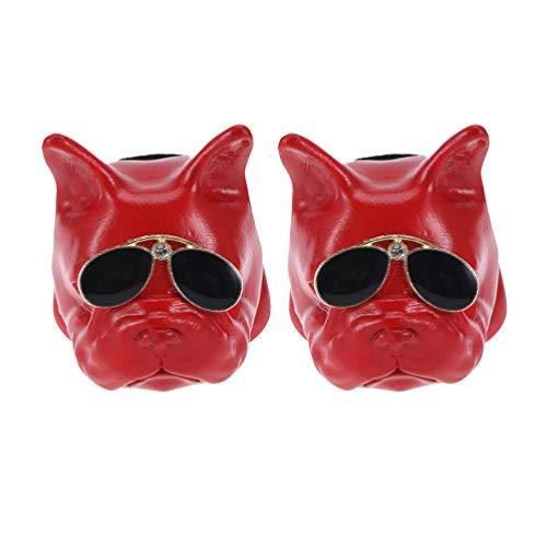 Holibanna presa auto profumo clip testa di cane deodorante profumo odore diffusore bulldog francese con occhiali da sole rosso
