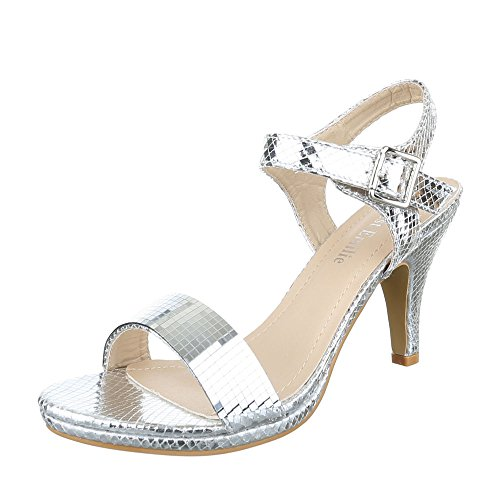 High Heel Sandaletten Damen-Schuhe Plateau Pfennig-/Stilettoabsatz High Heels Schnalle Ital-Design Sandalen / Sandaletten Silber, Gr 39, E-14-
