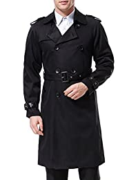861f19aeb589 AOWOFS Men's Trench Coat Long Double Breasted Slim Fit Overcoat Jacket  Military Trench Coat with Belt