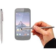 Stylet + stylo bille gris métal 2 en 1 haute précision pour écran tactile de Smartphone Wiko Darkfull, Darknight et Darkmoon