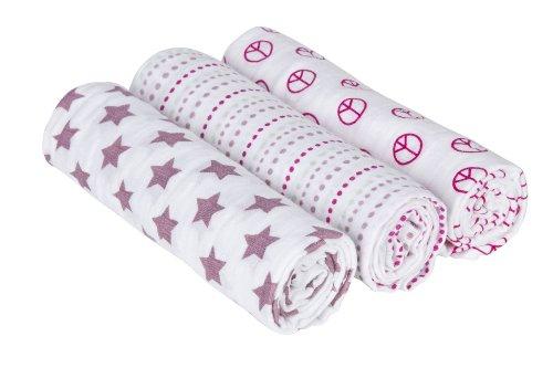 Lässig 3er Set Swaddle & Burp Blanket Puckdecke/Spuckdecke 100% Baumwolle Mulltuch weich kuschelig 85 x 85 cm, Sweet Dreams Girls