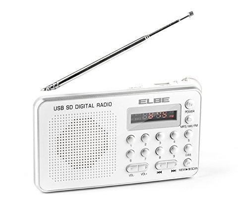 Elbe RF-49-USB - Radio con Lector de Tarjetas, Lector MP3 y USB, Altavoz, Color Plata