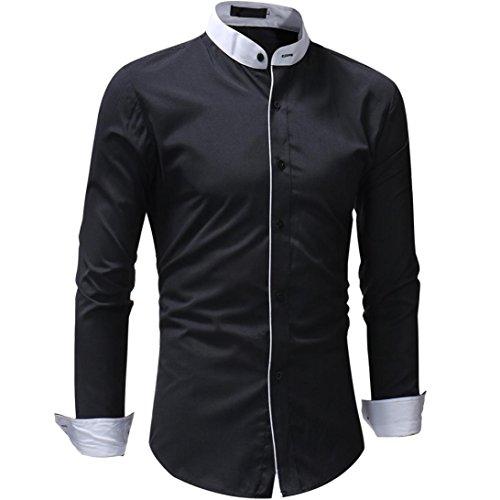 LMMVP Camisas para hombres Camisas de Hombre,Jersey Casual de Hombre Patchwork de Manga Larga Camiseta de Bolsillo Tops Blusas