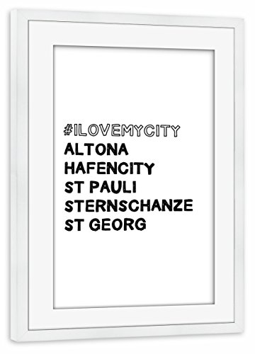 artboxONE Poster mit Rahmen Weiß 60x40 cm Love My Kietz von Tim Löhrs - gerahmtes Poster
