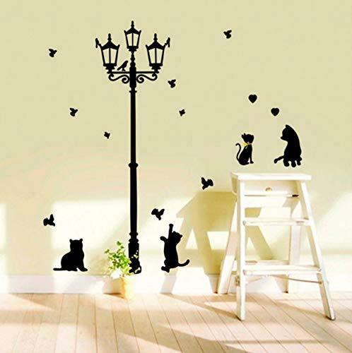 (Dalxsh Große Baby Schwarze Katze Streelight Silhouette Wandaufkleber AbziehbilderDiyTapete Wandbild Mädchen Jungen SchlafzimmerDekoration40X60 Cm)