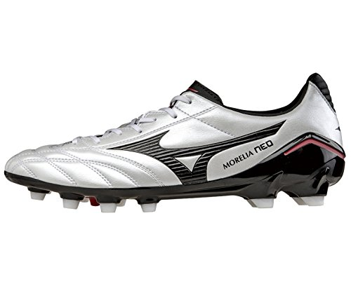 Mizuno Morelia Neo PS Moulded FG Football Boots (Pearl-Black-Red) Bianco
