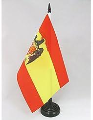 BANDERA de MESA de ESPAÑA 1977-1981 21x14cm - BANDERINA de DESPACHO ESPAÑOLA CON AGUILA 14 x 21 cm - AZ FLAG