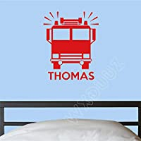 haochenli188 WXDUUZ Personalized Name Fire Engine Wall Art Wall Sticker Decor Nursery Kids Room Removable Wall Decal 1 58 x 46 cm