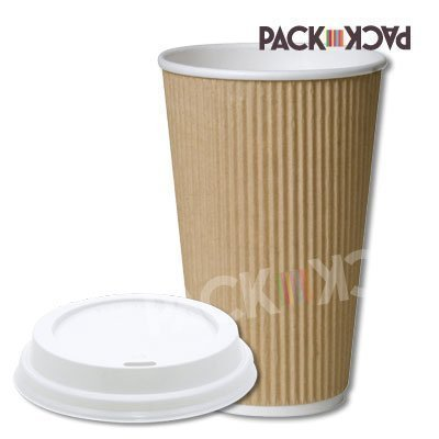 50 x 16oz Kraft ripple Cups with white sipper