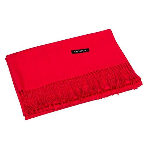 """Xinan Damen Schal Women Scarf Frauen Schal Winter Kaschmir Mischung Pashmina Solid Quaste Schal Wrap (70m*180cm/27.6*70.86\"""", Rot)"""