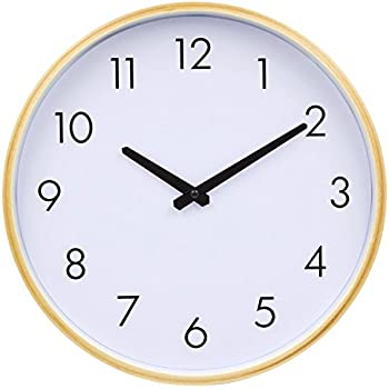 HITO 12 Inches Silent Nonticking Wall Clock w Wood Frame and