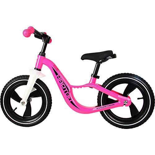 HAPTOO Laufrad ab 2 Jahre aus Magnesiumlegierung, Aufblasbarer Gummireifen - Faltbarer Lenker - Lenker-und Sattelhöhenverstellbar, Laufräder für Mädchen 2-5 Jahre / 90-120 cm, 12 Zoll Rosa