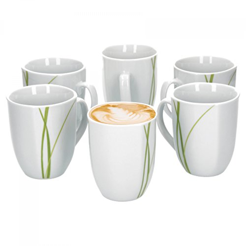 Van Well Bali 6er Set Kaffeebecher, 330 ml, H 10,3 cm, Kaffeetasse, Liniendekor, edles...