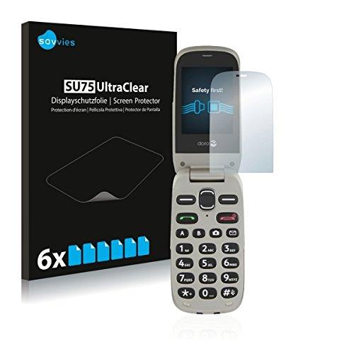 6x Savvies SU75 UltraClear Bildschirmschutz Schutzfolie für Doro PhoneEasy 632 (ultraklar, mühelosanzubringen)