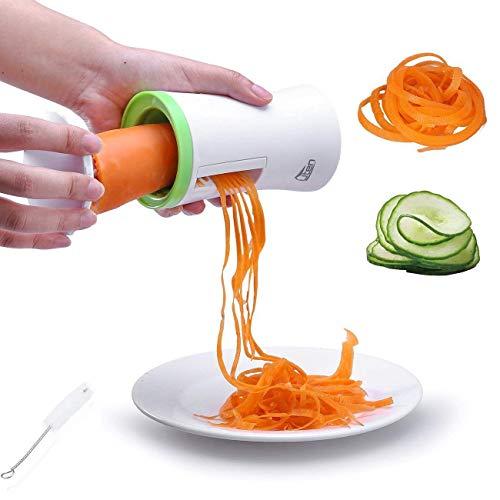 Uten Spiralschneider Hand für Gemüsespaghetti Kartoffel, Zucchini Spargelschäler Gurkenschneider mit 2 Klingen, Gemüsehobel ideal für Obst- und Gemüsenudeln enthält die Bürste für die Reinigung