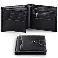 Wallets Mens RFID Blocking Genuine Leather with Zipped Coin Pocket, 12 Credit Card Holder Slots,2 Money Pockets,ID Window.Trifold Slim Men Wallet with Gift Box-Black