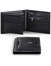 Portafoglio Uomo RFID Blocking con cartoline e borsa,Trifold Slim Portafogli in vera pelle con tasca con cerniera,12 porta carte di credito e finestra ID. Best regalo per gli uomini con scatola -Nero