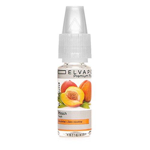 Elvapo Premium Plus E-LIQUIDS mit extra starkem Geschmack Pfirsich für E-Zigaretten und E-Shishas 0.0 mg (nikotinfrei), 10 ml