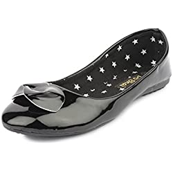 Do Bhai CB-60 Fashionable Ballerinas for Women (EU36, Black)