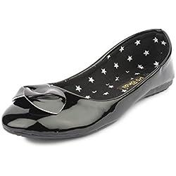 Do Bhai CB-60 Fashionable Ballerinas for Women (EU36, Black)