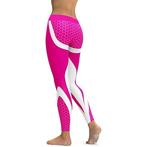 GSYJK Frauen Mesh Yoga Hosen Sport Leggings Fitness Floral Laufen Wanderhosen Tragen Workout Leggings Gymnastikhose-Pink,XL -