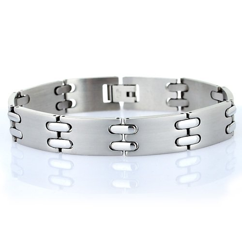 Men's Classic Links Matt Brushed Stainless Steel Bracelet. Man Jewellery, Timeless and One of Our Best Sellers.Trendy Man Christmas or Birthday Gift Idea at a Superb Price in our Christmas ()