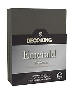 DecoKing 18620 Wasserbett Spannbettlaken 160 x 200 - 180 x  200 cm Jersey Baumwolle Spannbetttuch Emerald Collection, graphit