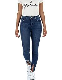 malucas Damen Jeans Hose Skinny High Waist Röhrenjeans mit Perlen und  Strass Röhrenhose mit Hohem Bund e310c87fe3