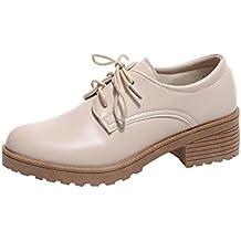ZODOF Zapatos Botas de Invierno para Mujer Zapatos de Mujer de Moda Zapatos Planos de Cuero