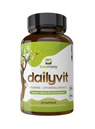 DailyVit - Multivitamin mit Spurenelementen plus Aminosäuren und Bioflavanoiden | Vegan | 60 Kapseln- zwei Monate versorgt! Cystein, Lysin & Taurin | Mit Bor! Neue Rezeptur -