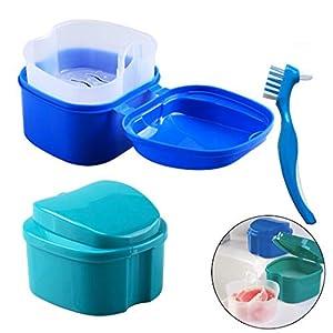 Prothesen Reinigungsbox/Prothese Bad Box Fall, Hatisan Falsche Zähne Aufbewahrungsbox mit hängenden Net Container, Premium Zahnschutz Box mit Reinigungsbürste