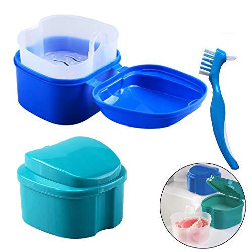 Prothesen Reinigungsbox/Prothese Bad Box Fall, Hatisan Falsche Zähne Aufbewahrungsbox mit hängenden Net Container, Premium Zahnschutz Box mit Reinigungsbürste (3 Stück)