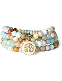 COAI Gift Ideas 108 Vielf Ärbig Amazonite with Tree of Life Accessories Buddhist Prayer Bracelet for Men and Women