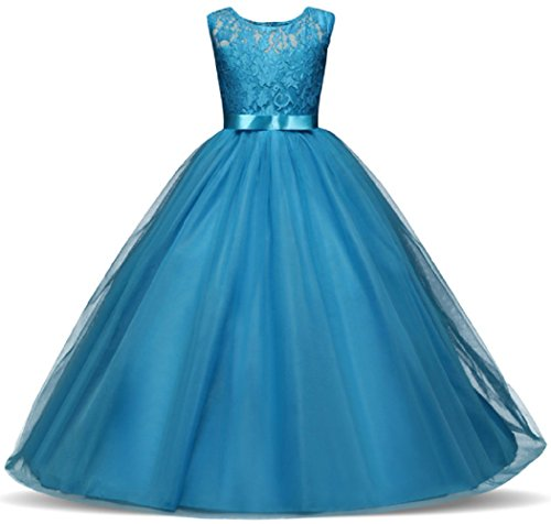 AGOGO Mädchen Kinder Kleider Festlich Brautjungfern Kleid Prinzessin Hochzeit Party Maxi Kleid Spitze Spleiß Chiffon Festzug Gr. 116 128 140 152 164 170 (140, Blau)