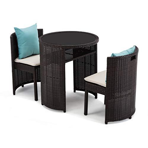 IntimaTe WM Heart Sitzgarnitur, 2er-Set Rattansessel 1 Tisch, dreiteilige Kombination aus Rattan, Garten Terrasse Cafe Outdoor Gartenmöbel