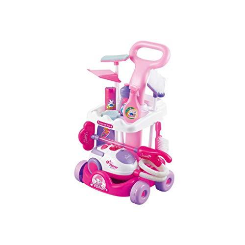 Lxyfms giochi per bambini pulizia auto set simulazione strumento di pulizia del carrello aspirapolvere piccoli elettrodomestici giocattolo 29x27x51cm giocattolo intelligente