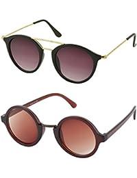 Aventus Stylish Sunglasses Combo-Brown Round Sunglasses & Black Metal Round Sunglasses For Men Women