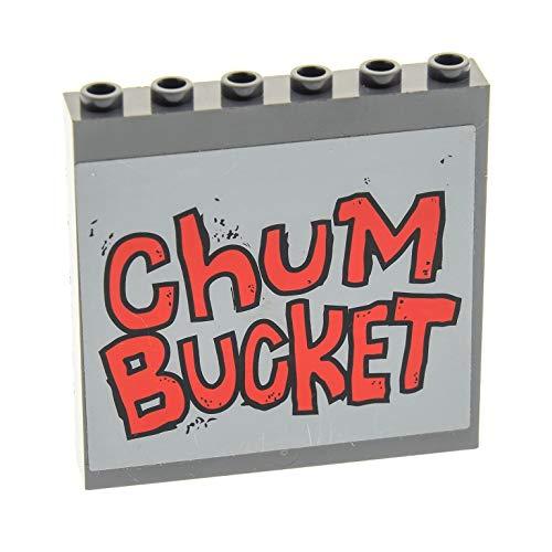 Bausteine gebraucht 1 x Lego System Panele neu-dunkel grau 1 x 6 x 5 mit Sticker rot ChUM Bucket Spongebob Squarepants 4981 59349pb090 (Chum Bucket Spongebob)