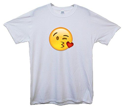 Kissing Face Emoji T-Shirt Weiß