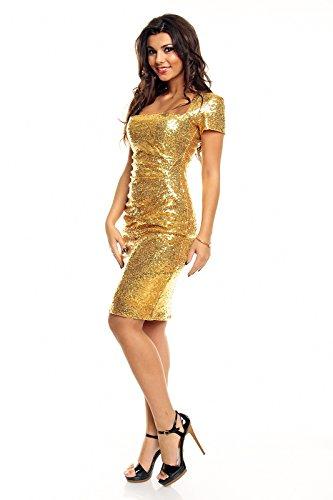 edles Paillettenkleid Glitzer Cocktailkleid Abendkleid mit Pailletten bestickt gold S - 3