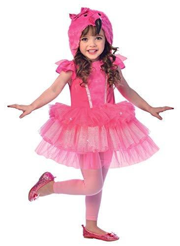 (Fancy Me Mädchen Kleinkind Leuchtend Pink Flamingo mit Kapuze Tutu Kleid Vogel Tier Karneval Festival Kostüm Kleid Outfit 2-8 Jahre - 7-8 years)