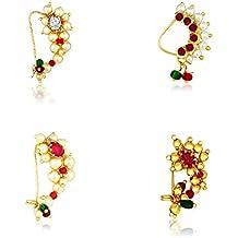 MeenazTraditional Jewellery Gold Maharashtrian Wedding Combo Nose pin/Nath Nose Ring for women girls (4 pcs) -NATH COMBO-12